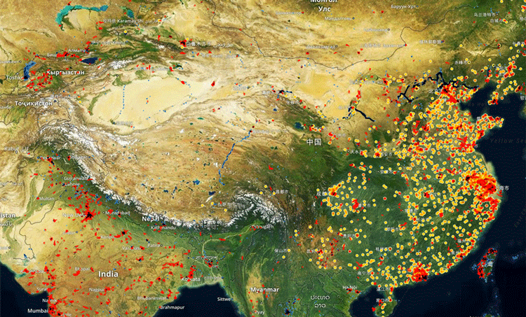 Manufacturing activity in China tracked by SpaceKnow.