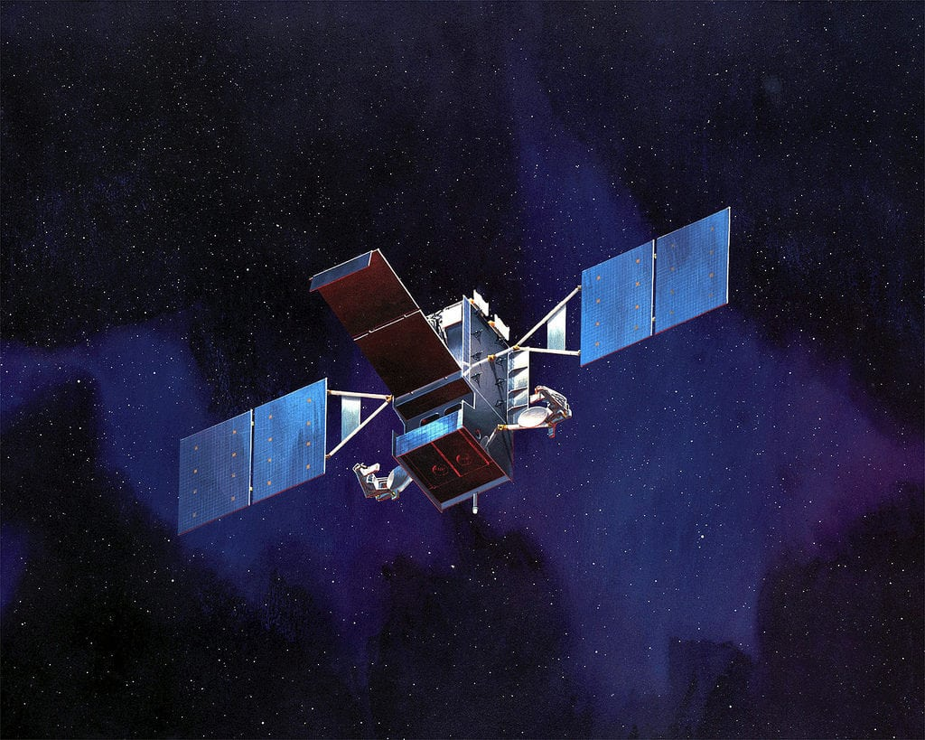 Rendering of the SBIRS GEO spacecraft, part of the US' infrared space surveillance system.
