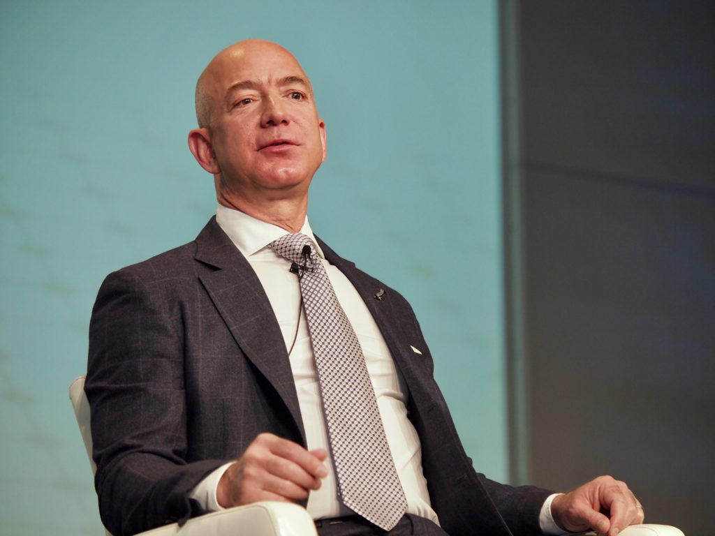 Jeff Bezos, founder of Blue Origin announcing Eutelsat as the first client of the New Glenn rocket. Photo: Vince Lim/Via Satellite
