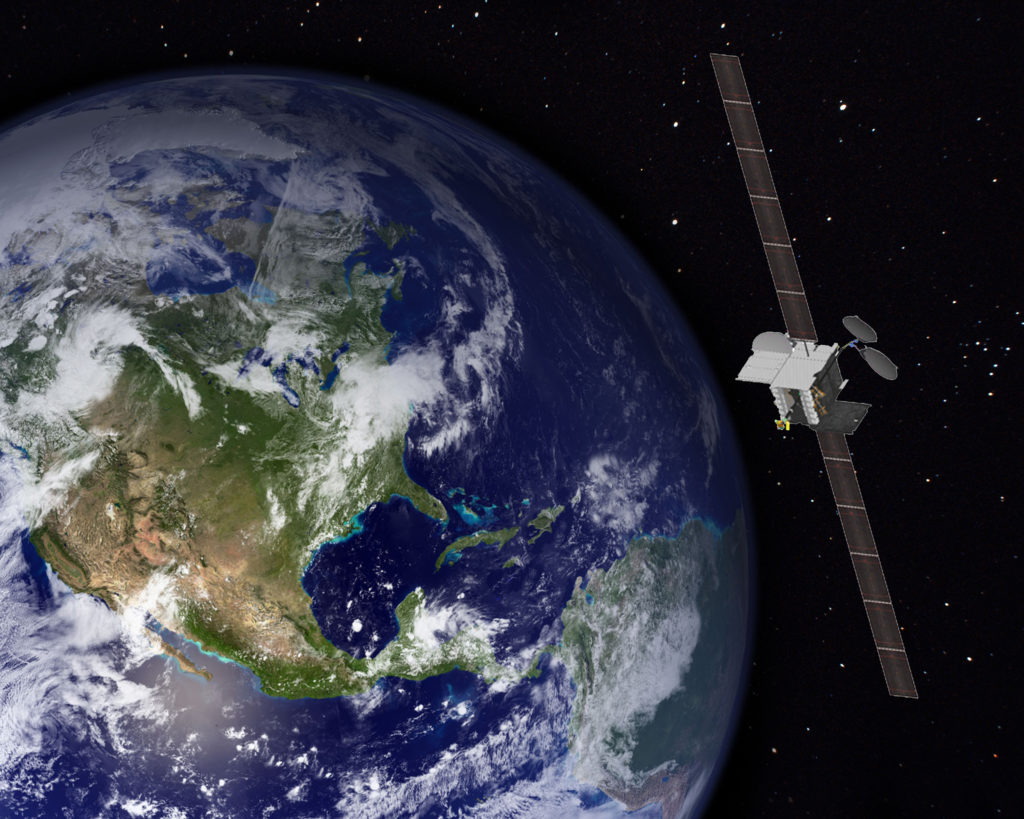 Rendering of a Boeing Ka-band 702HP satellite, the architecture of ViaSat 2.