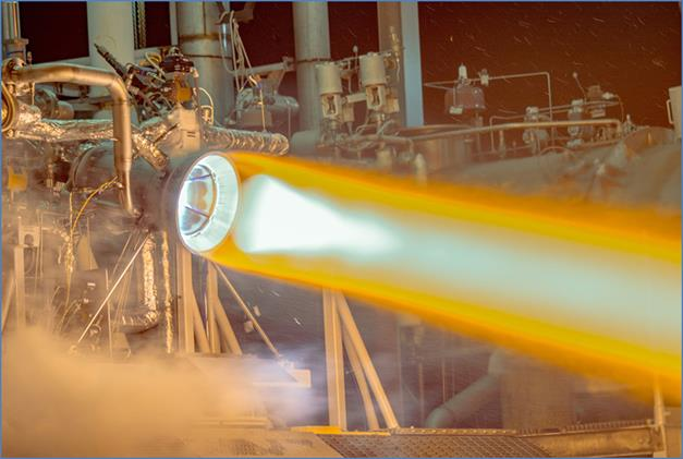 Hot-fire testing of a full-scale, additively manufactured thrust chamber assembly for the RL10 rocket engine at Aerojet Rocketdybe West Palm Beach, Florida facility.