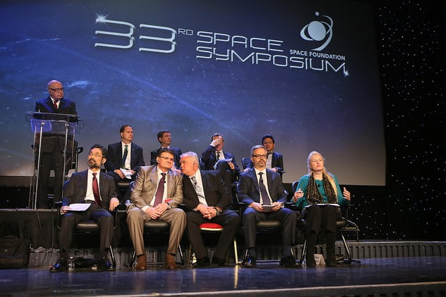 International space agency leaders at the 33rd Space Symposium's stage. Photo: Space Foundation