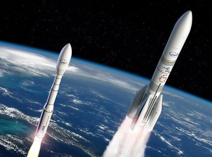 Rendition of Ariane 6 and Vega C.
