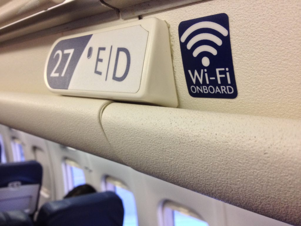 Wifi sign onboard a commercial aircraft