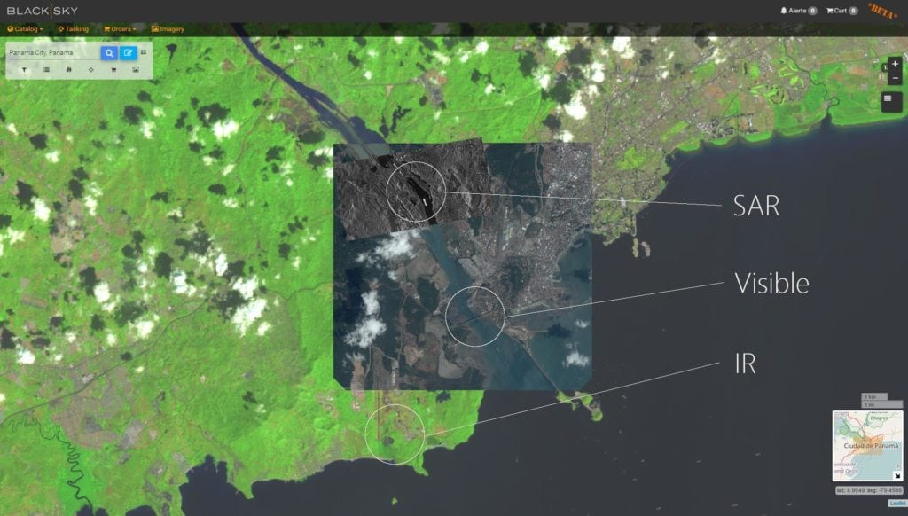 Image from BlackSky Spectra, displaying visible, SAR, and IR data over Panama City and the Miraflores Locks. (Images from Airbus Pléiades, Airbus TerraSAR-X, and USGS Landsat; some of the bans are IR, some are visible), respectively.