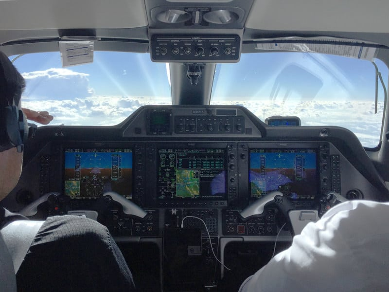 Cockpit view of SkyRouter. Photo: Blue Sky Network.