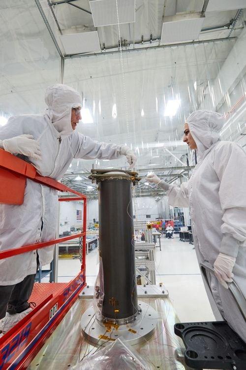 Northrop Grumman engineers assemble the mid-boom assemblies. Photo: Northrop Grumman.