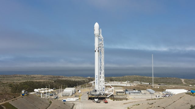 Falcon 9 on the launchpad at Vandenberg Air Force Base. Photo: SpaceX.