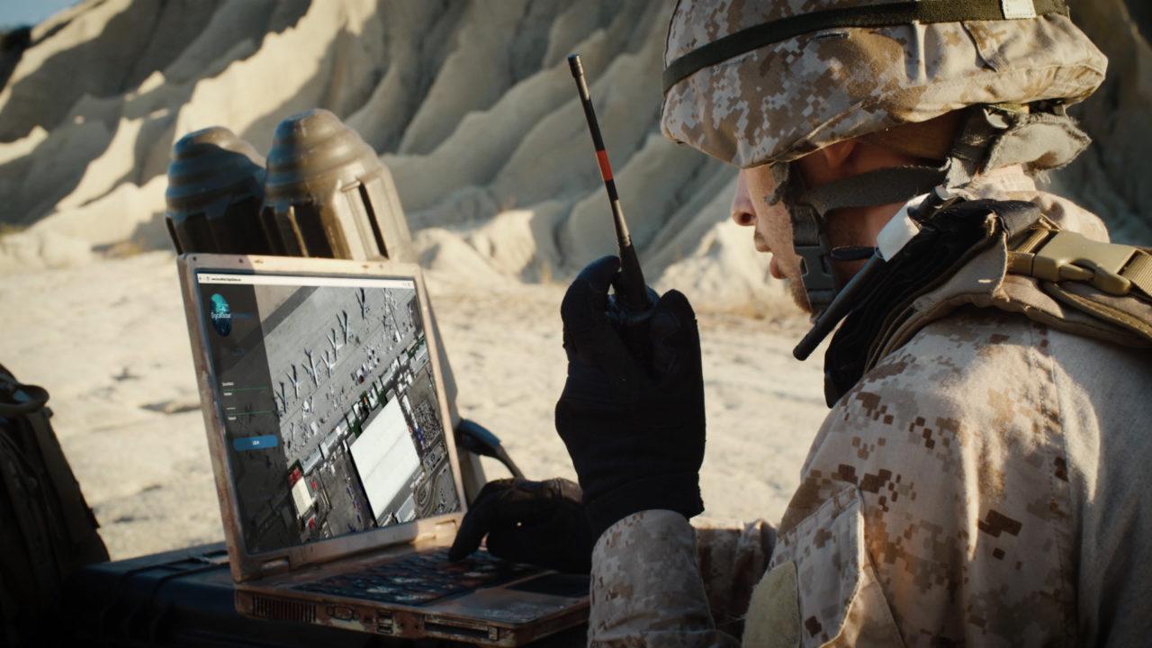 A soldier uses SecureWatch. Photo: DigitalGlobe.