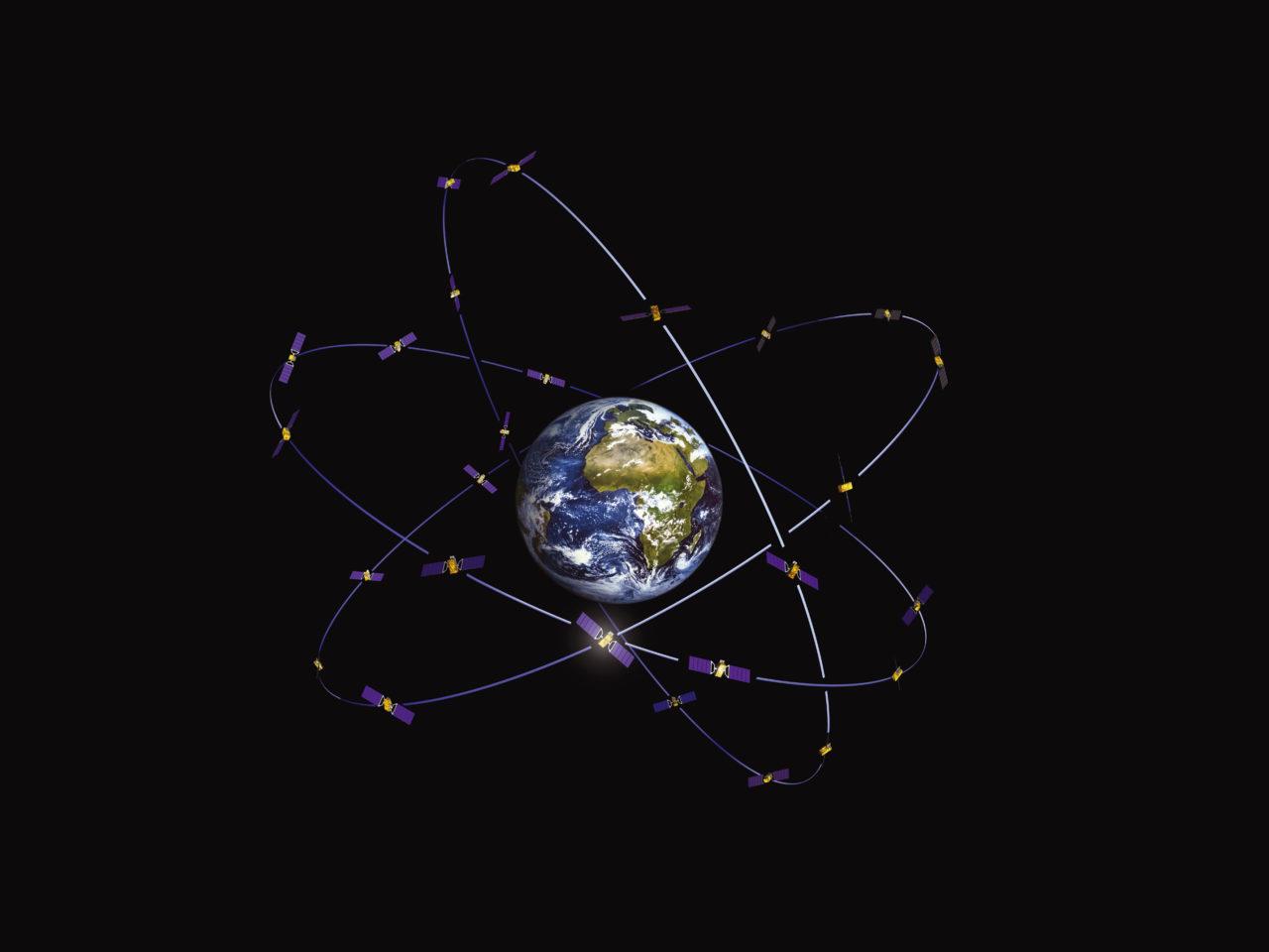 Rendition of Galileo constellation. Photo: Galileo GNSS blog.