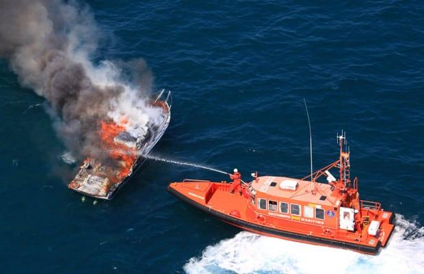 Emergency responders put out a ship fire. Photo: Salvamento Maritimo.