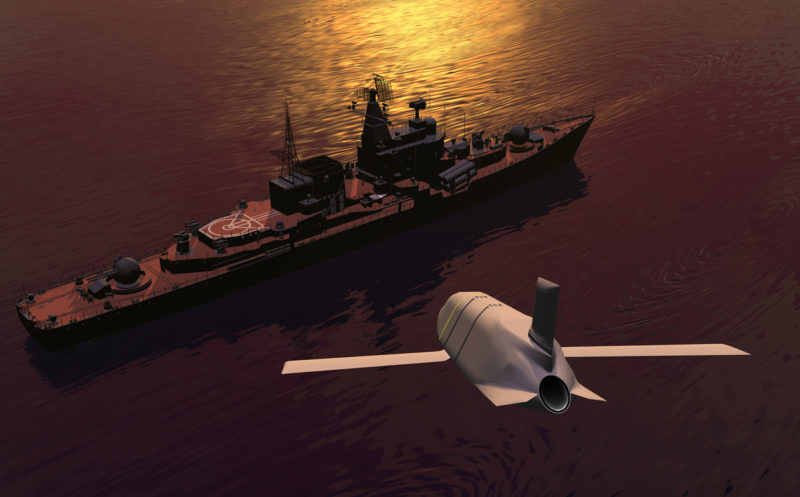 Rendition of LRASM attacking a maritime ship target. Photo: DARPA.