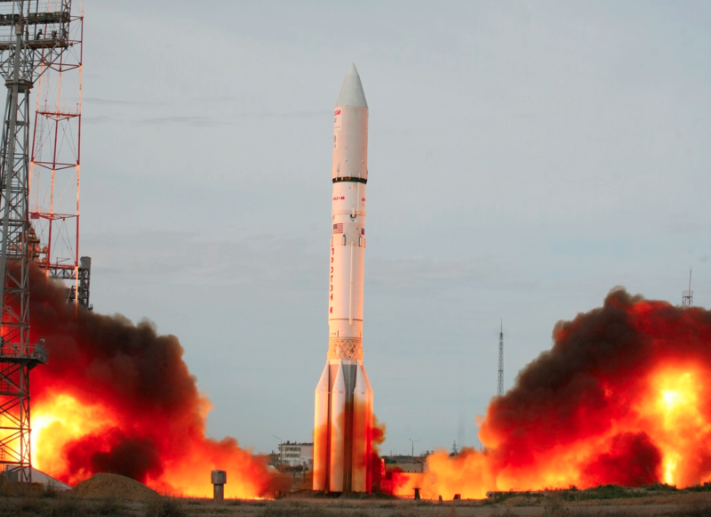 Proton M lifts off from Site 81/24 at Baikonur Cosmodrome in Kazakhstan. Photo: Roscosmos.