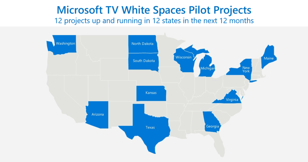 Microsoft will target 12 states over the next 12 months with its TV white spaces program. Photo: Microsoft.