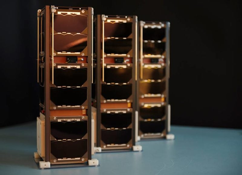 "The ""Three Diamond"" nanosatellites. Photo: Sky and Space Global."