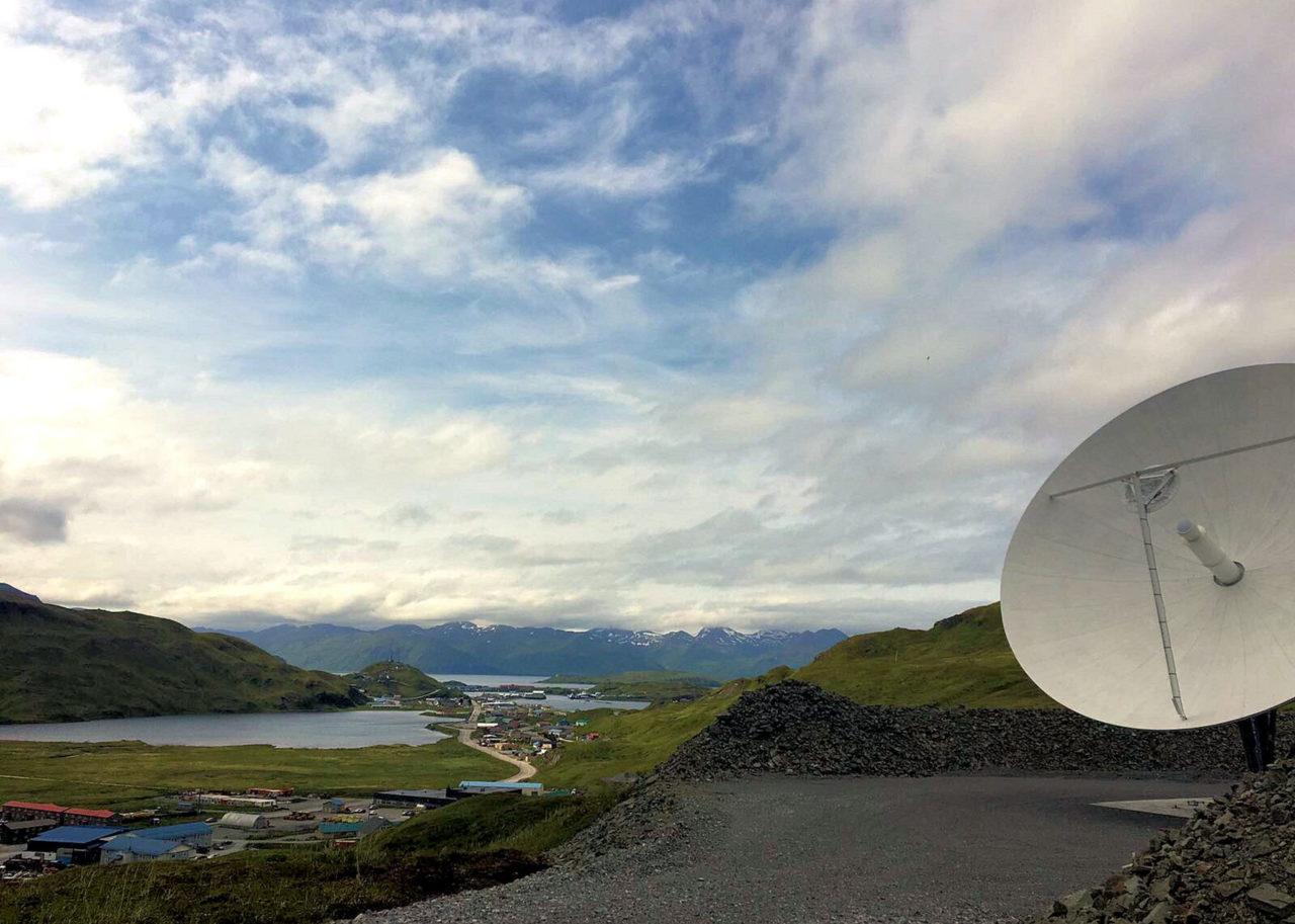 Satellite dish in rural Alaska. Photo: Business Wire.