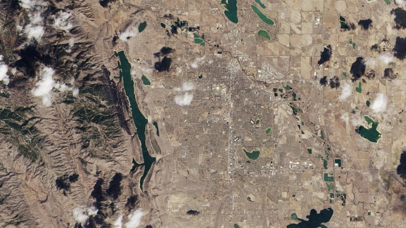 First image from Landsat 8. The area is Fort Collins, Colorado, USA. Photo: USGS/NASA Earth Observatory