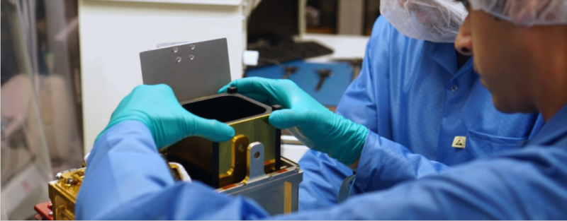 Terran Orbital engineer constructs a satellite platform. Photo: Tyvak.