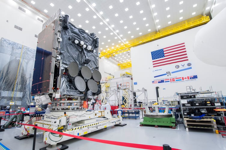 The eighth WGS satellite under construction at Boeing. Photo: Boeing.