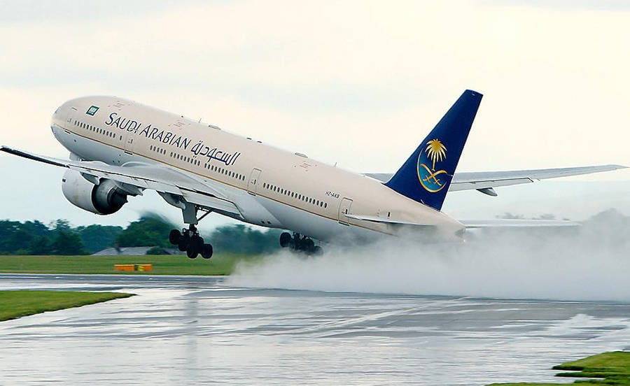 A Saudi Airlines jet takes flight. Photo: Altayar Group.