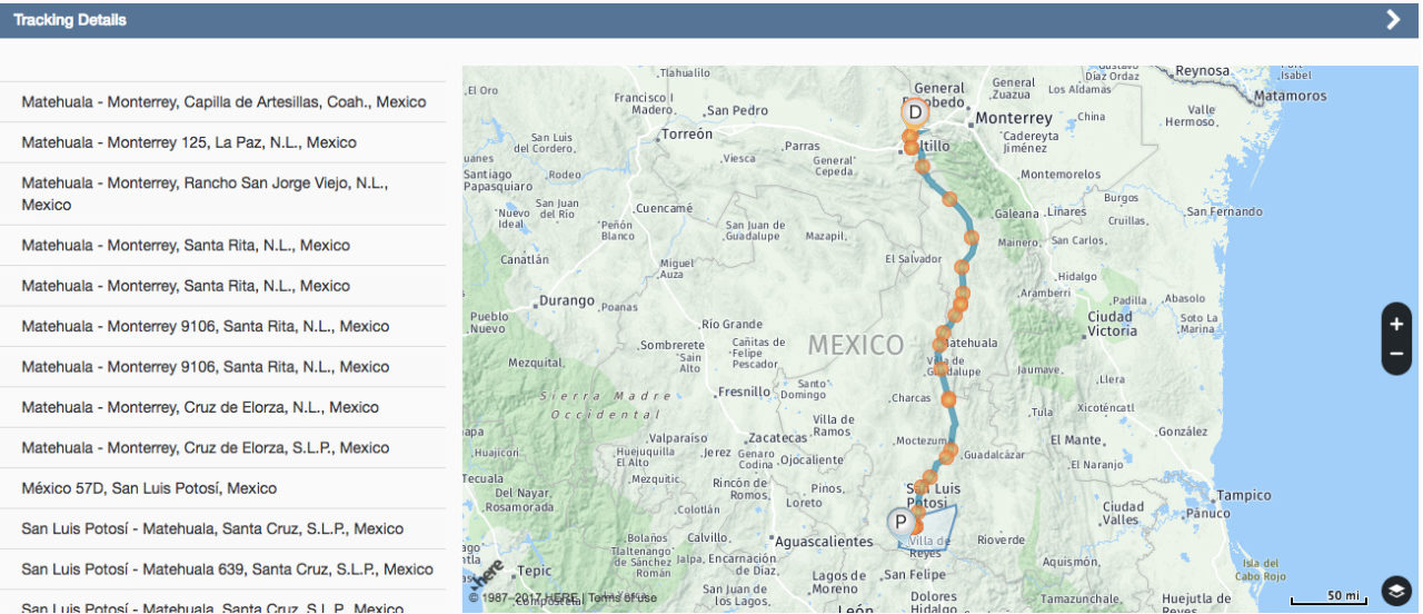 A Vitti Logistics load in Mexico being GPS tracked by FourKites. Photo: FourKites.