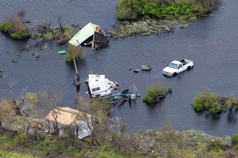 An aerial view shows significant damage caused by Hurricane Harvey in Rockport, Texas, Aug. 28, 2017. Photo: Army National Guard, Sgt. 1st Class Malcolm McClendon.