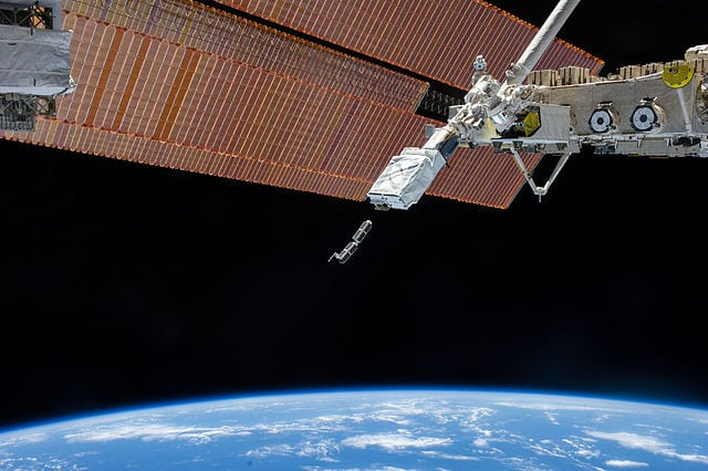 Cubesats being launched from the Kibo module of the International Space Station. Photo: Flickr, NASA Johnson.