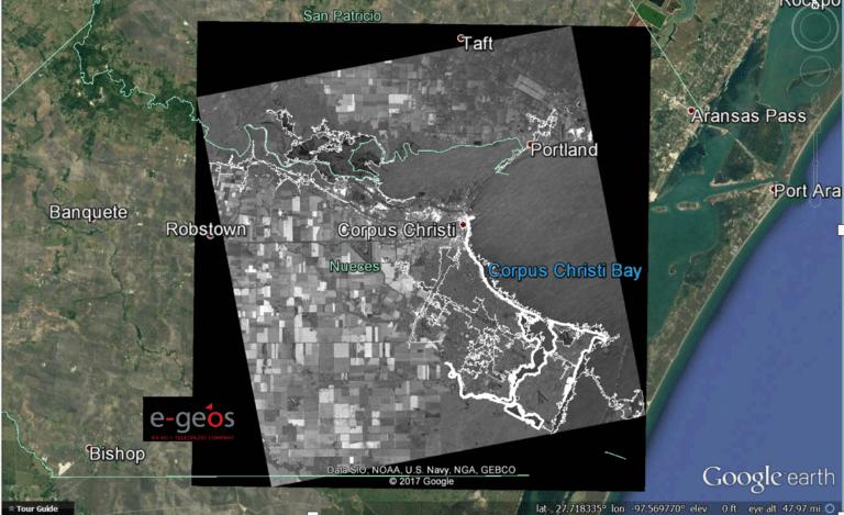 Radar imagery of the hurricane impact in Corpus Christi, TX. Photo: Ursa Space Systems.