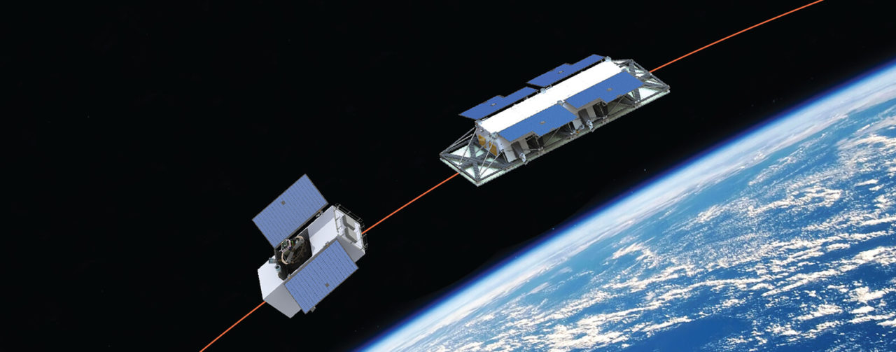 Rendition of two satellites in the OptiSAR constellation. Photo: UrtheCast.