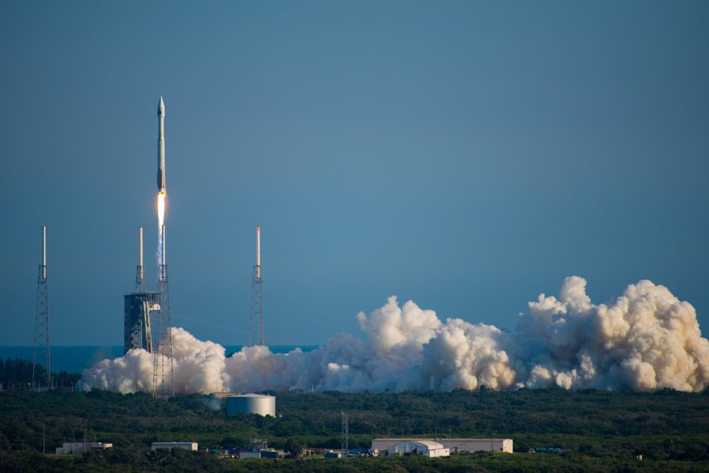 A United Launch Alliance (ULA) Atlas 5 rocket launching NASA's Tracking and Data Relay Satellite (TDRS)-M from Space Launch Complex 41 at Cape Canaveral Air Force Station, Florida August 18, 2017.