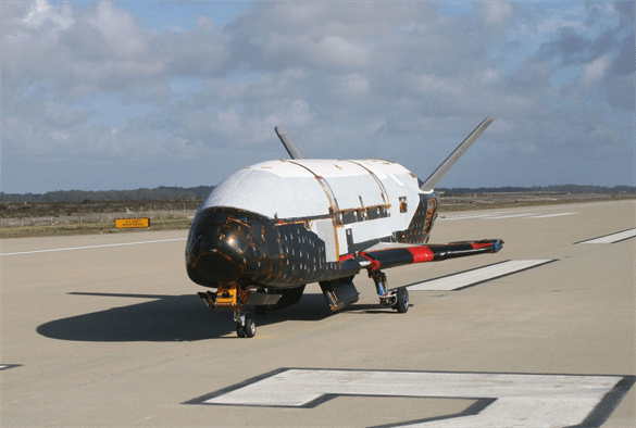 In a testing procedure, the X-37B Orbital Test Vehicle taxis on the flightline at Vandenberg AFB. Photo: U.s Air Force.