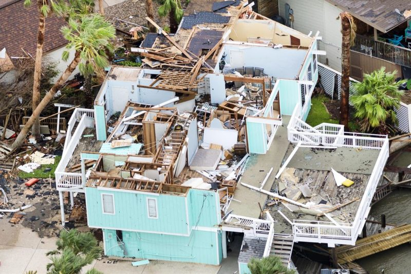 An aerial view shows a home damaged by Hurricane Harvey in Rockport, Texas, Aug. 28, 2017. Photo: Army National Guard, Sgt. 1st Class Malcolm McClendon.