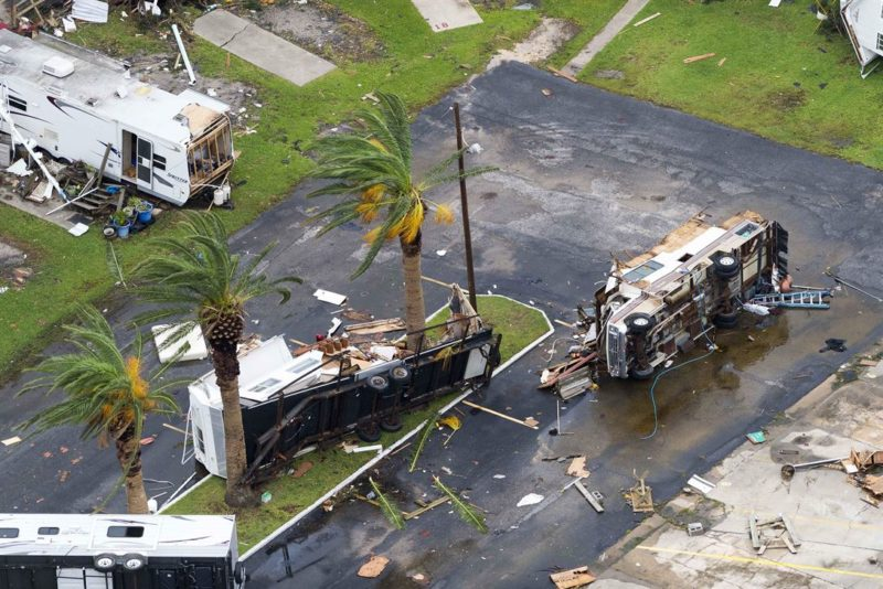 An aerial view shows home and vehicles destroyed by Hurricane Harvey in Rockport, Texas, Aug. 28, 2017. Photo: Army National Guard, Sgt. 1st Class Malcolm McClendon.