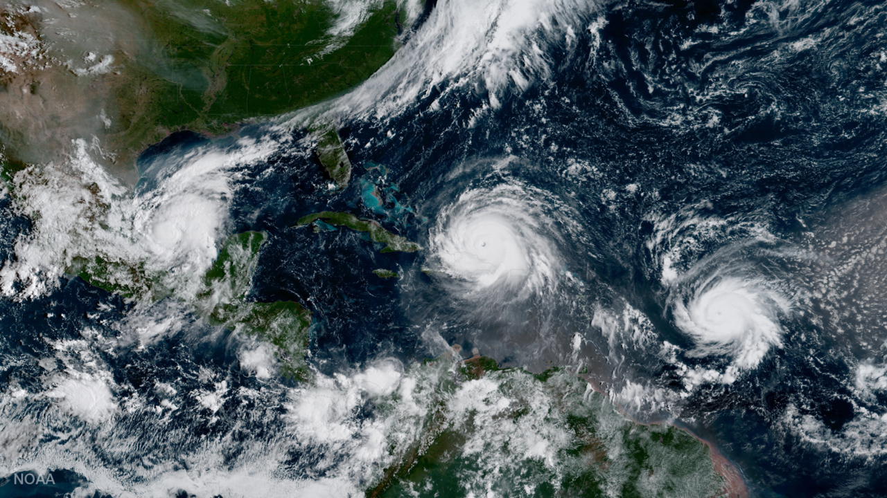 GOES 16 captured this image of three Atlantic hurricanes simultaneously: Katia (L), Irma (M), and Jose (R). Photo: NOAA.