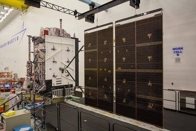 GPS 3 SV02 at Lockheed Martin's processing facility near Denver, Colorado. Photo: Lockheed Martin.