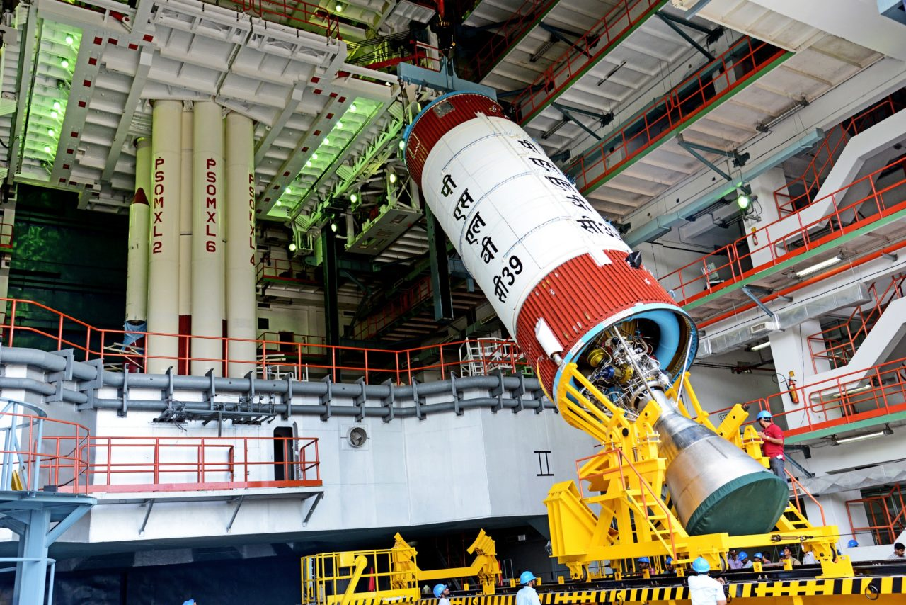 PSLV-C39 liquid stage at the Vehicle Assembly Building during vehicle integration. Photo: ISRO.