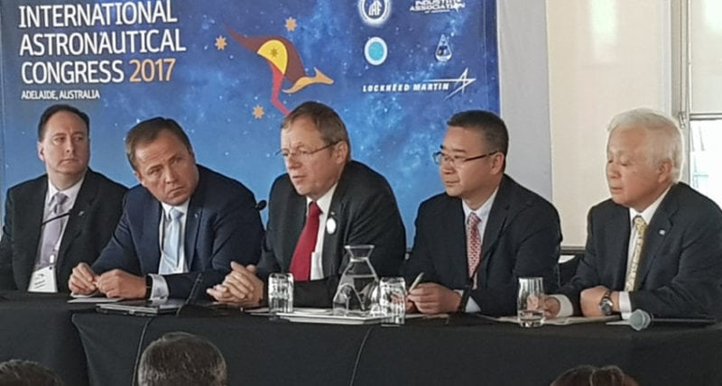 Heads of space agencies, from left, NASA Acting Administrator Robert Lightfoot, Russian Federal Space Agency (Roscosmos) Head Igor Komarov, European Space Agency Director General Jan Woerner, China National Space Administration (CNSA) Secretary General Tian Yulong and Japan Aerospace Exploration Agency (JAXA) President Naoki Okumura at the International Astronautical Congress in South Australia. Photo: The Lead South Australia.