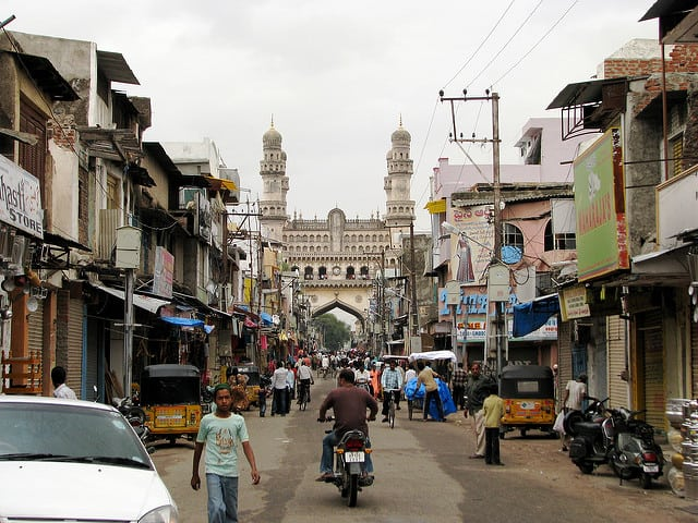 The Charminar in Hyderabad, India, as seen from the Laad Bazaar. Photo: Flickr, McKay Savage.