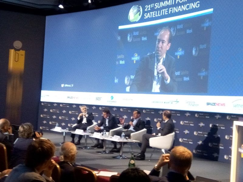 Eutelsat CEO Rodolphe Bemer, Telesat CEO Dan Goldberg, and SES CEO Karim Michel Sabbagh take the stage during WSBW. Photo: Euroconsult, Fin17 Twitter.
