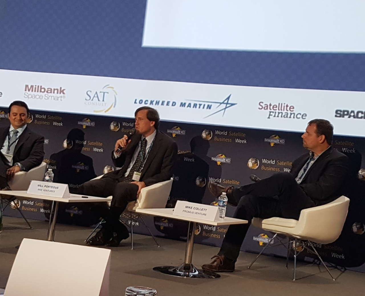 Mike Collett, founder and managing partner of Promus Ventures, and Will Porteous, general partner and COO of RRE Ventures, share their thoughts on stage during World Satellite Business Week. Photo: Mark Holmes, Via Satellite.