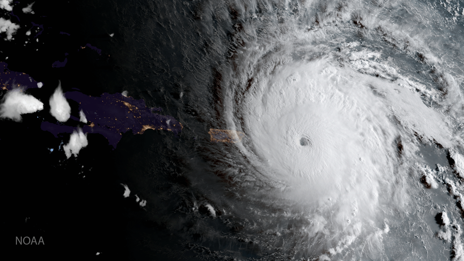 GOES 16 captured this geocolor image of Hurricane Irma approaching Anguilla on Sept. 6, 2017. Photo: NOAA.