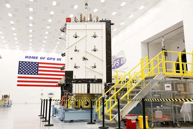 GPS3 SV02 at Lockheed Martin's manufacturing facility near Denver, Colorado. Photo: Lockheed Martin.