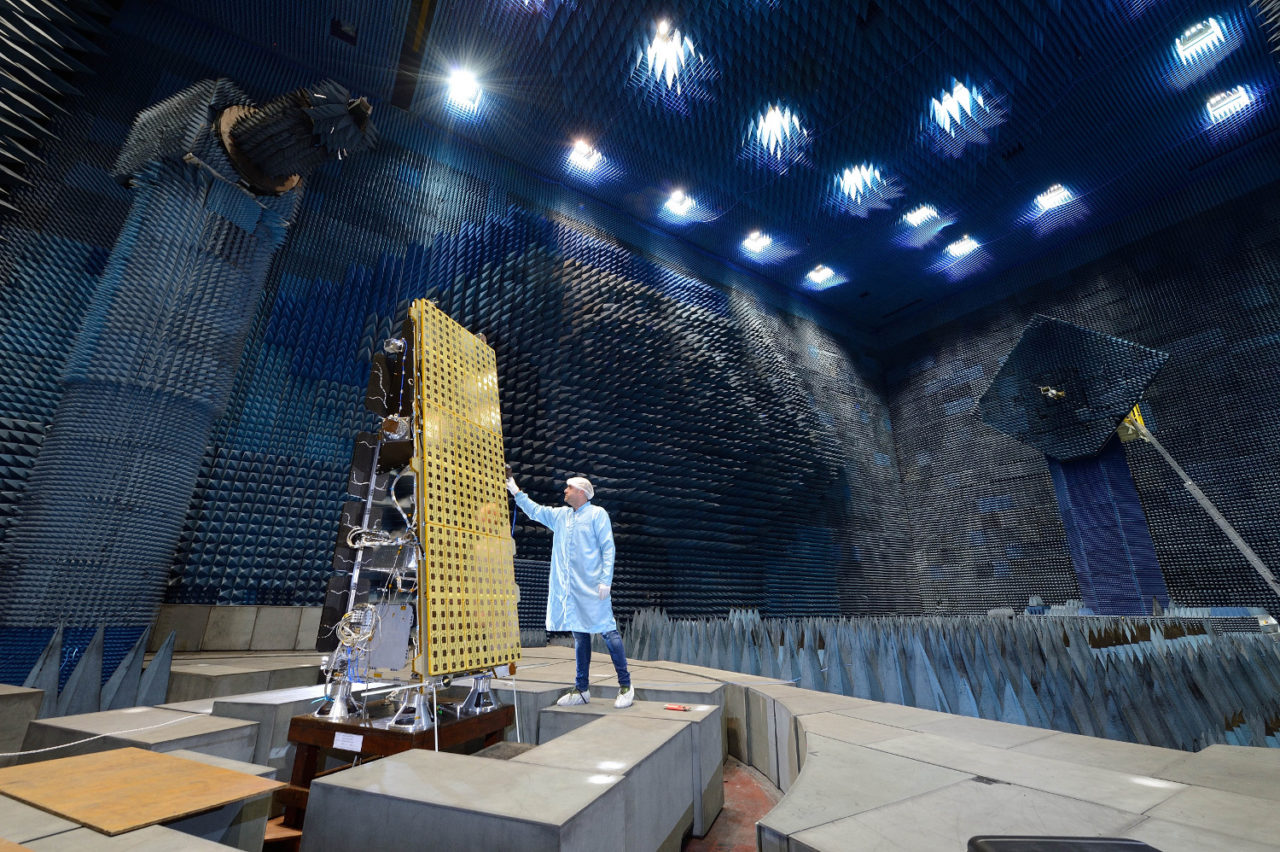 NovaSAR-S in the anechoic chamber for electromagnetic compatibility (EMC) testing and SAR payload testing. Photo: SSTL.