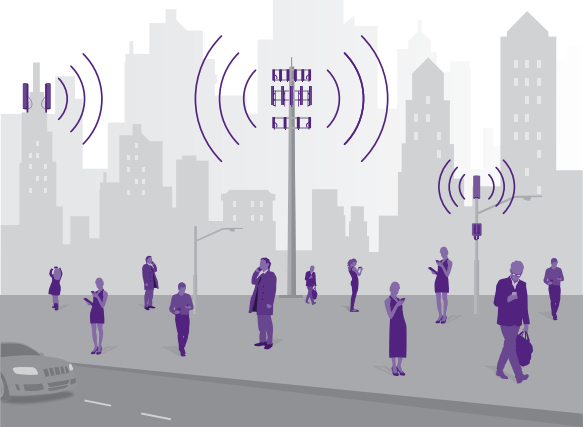 Graphic showing how small cells can alleviate congestion in urban areas. Photo: Crown Castle.