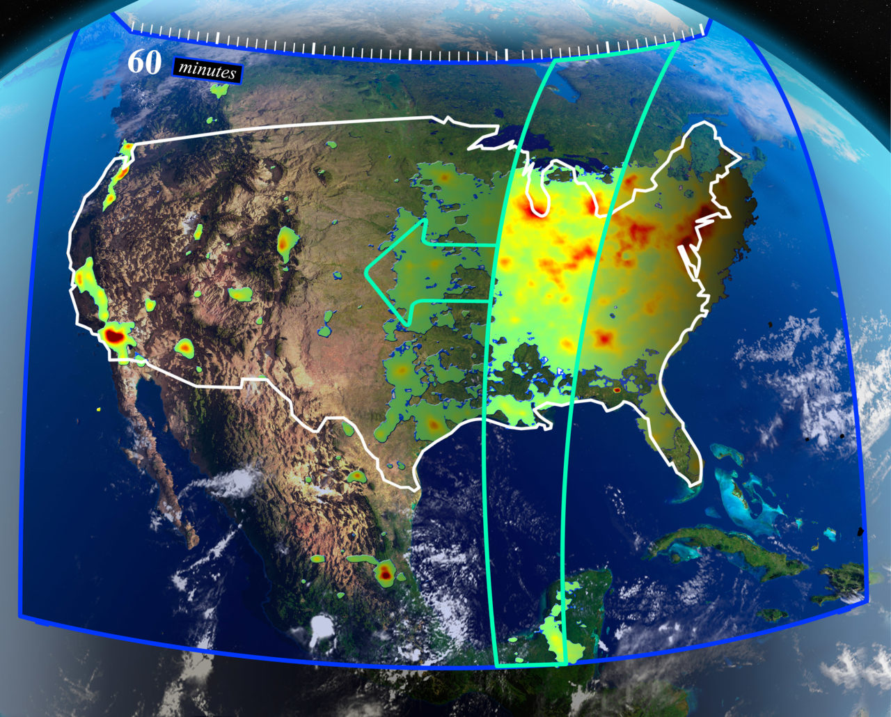 TEMPO's measurements from GEO will create a dataset that improves prediction of air quality and climate forcing. Photo: NASA.