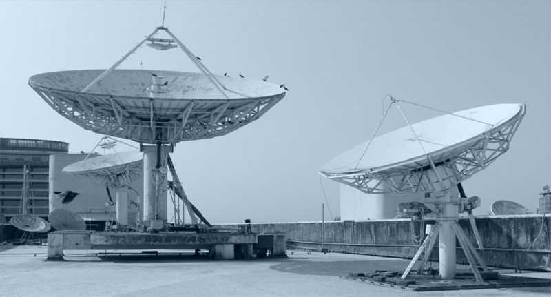 Two antennas at a Lamhas teleport in India. Photo: Lamhas.