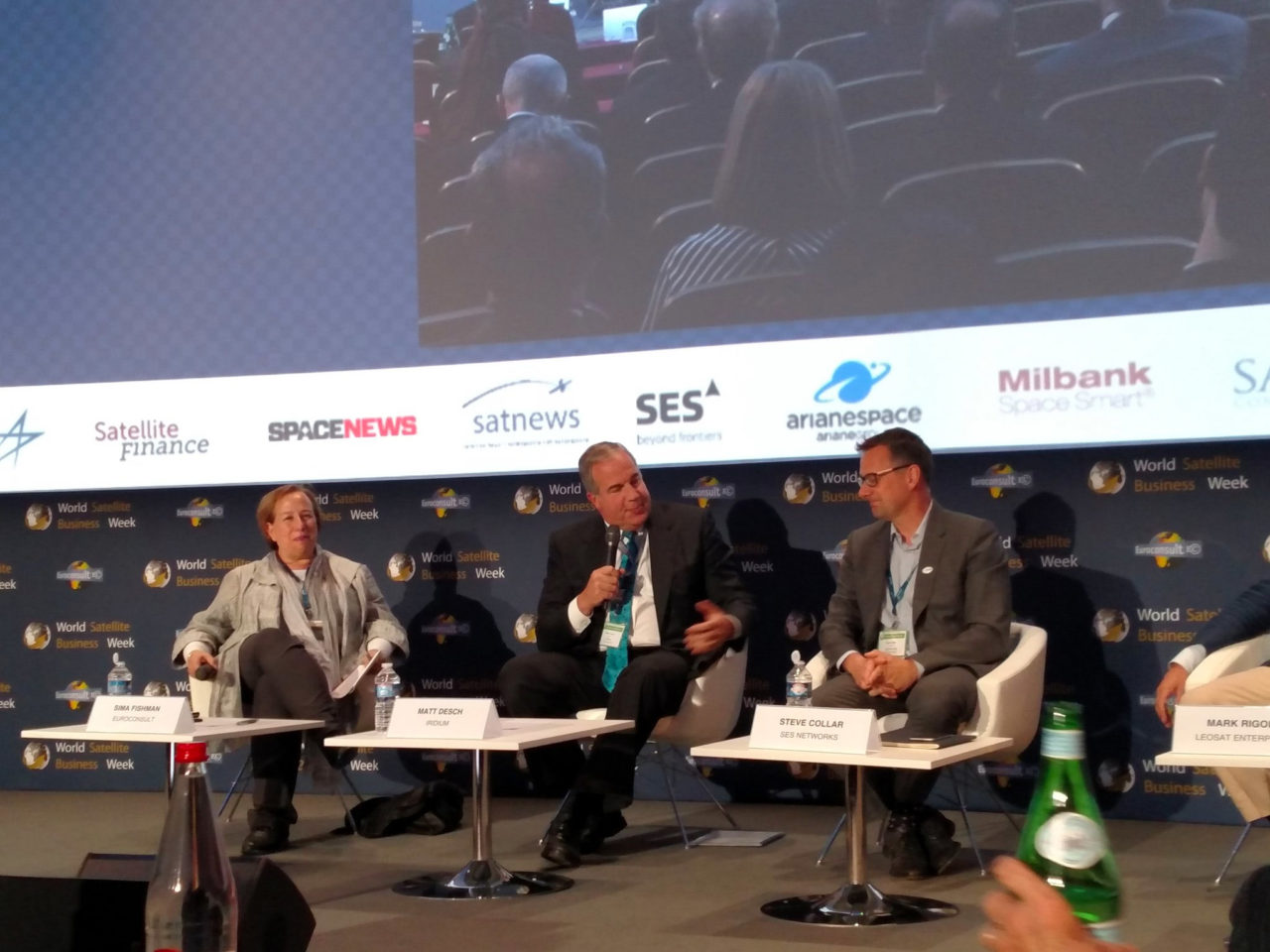 Iridium and O3b CEOs, Matt Desch and Steve Collar, on stage at the Euroconsult 21st Summit for Satellite Servicing. Photo: Iridium.