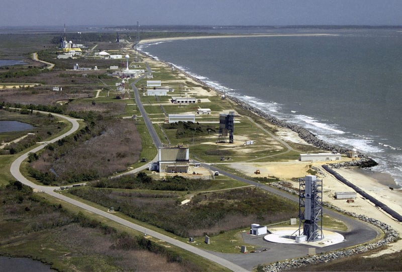 Aerial view of the Mid-Atlantic Regional Spaceport at NASA's Wallops Flight Facility on the Eastern shore of Virginia. Photo: NASA.