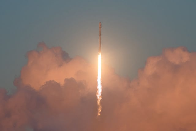 Falcon 9 rocket just after lift off, carrying the EchoStar 105/SES 11 satellite. Photo: SpaceX.