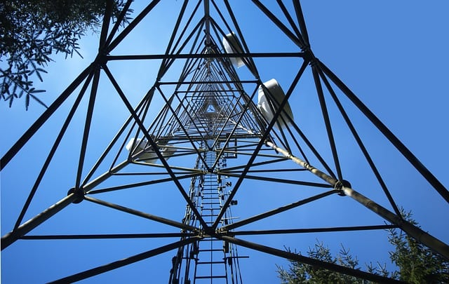 The underside of a cell tower. Photo: Pixabay.
